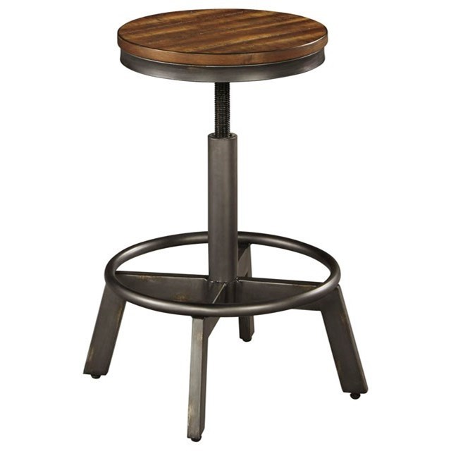 Signature Design By Ashley Torjin Rustic Stool With Adjustable Height Miskelly Furniture Bar