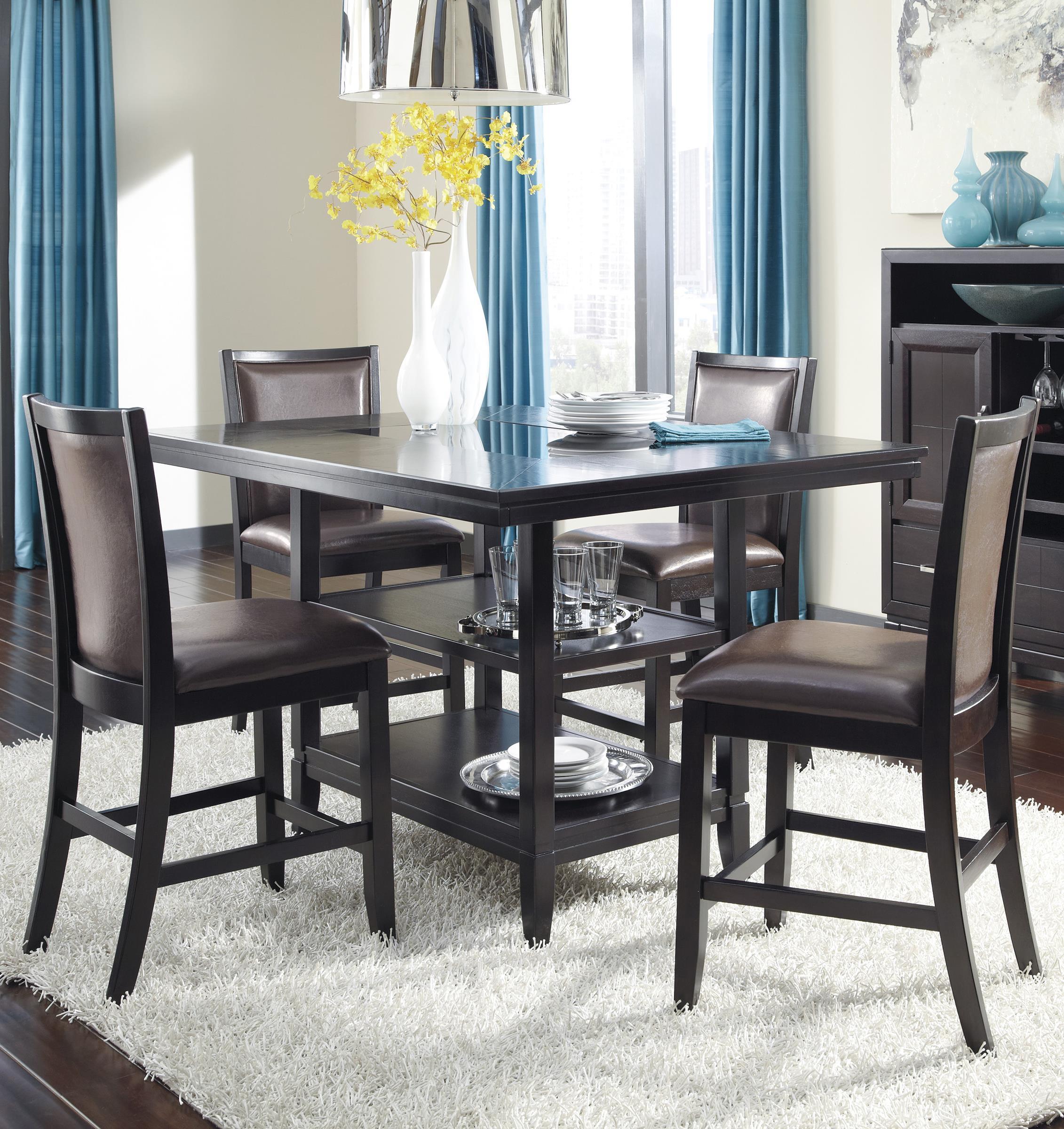 Ashley Furniture Trishelle 5-Piece Counter Table Set - Item Number: D550-32+4x224