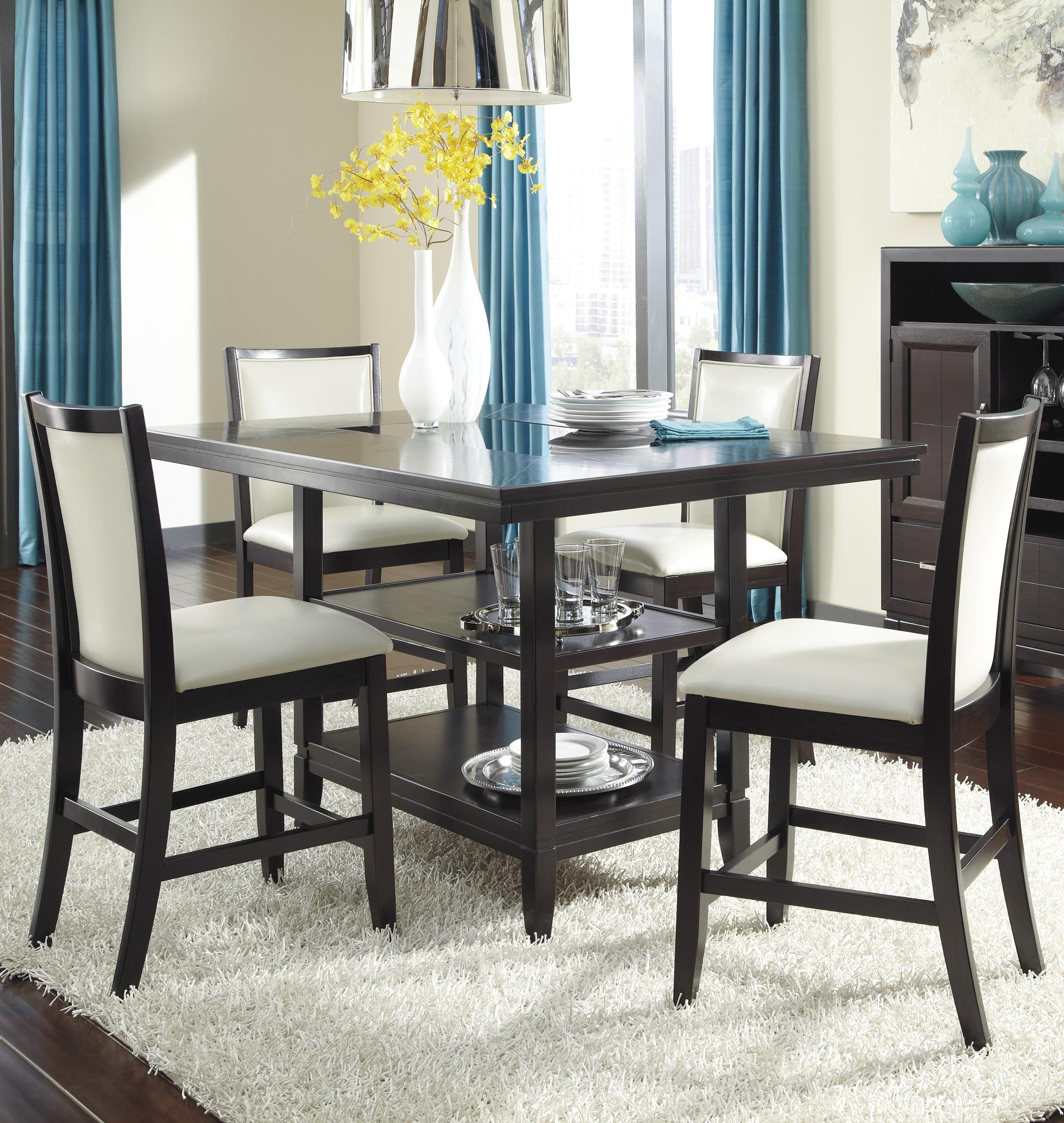 Ashley Furniture Trishelle 5-Piece Counter Table Set - Item Number: D550-32+4x324