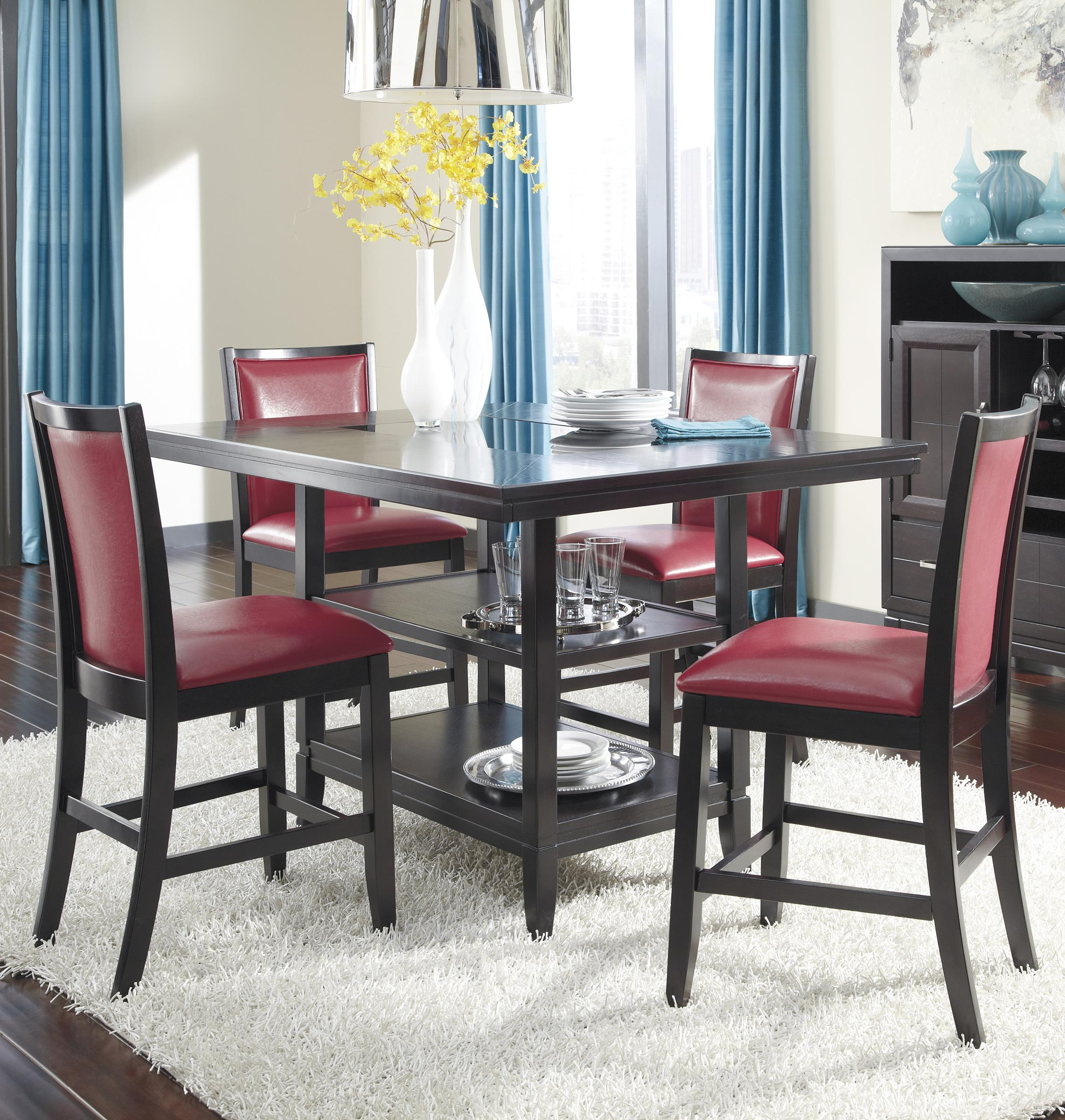 Ashley Furniture Trishelle 5-Piece Counter Table Set - Item Number: D550-32+4x424