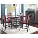 Ashley Furniture Trishelle 5-Piece Counter Table Set with Red Upholstered Barstools