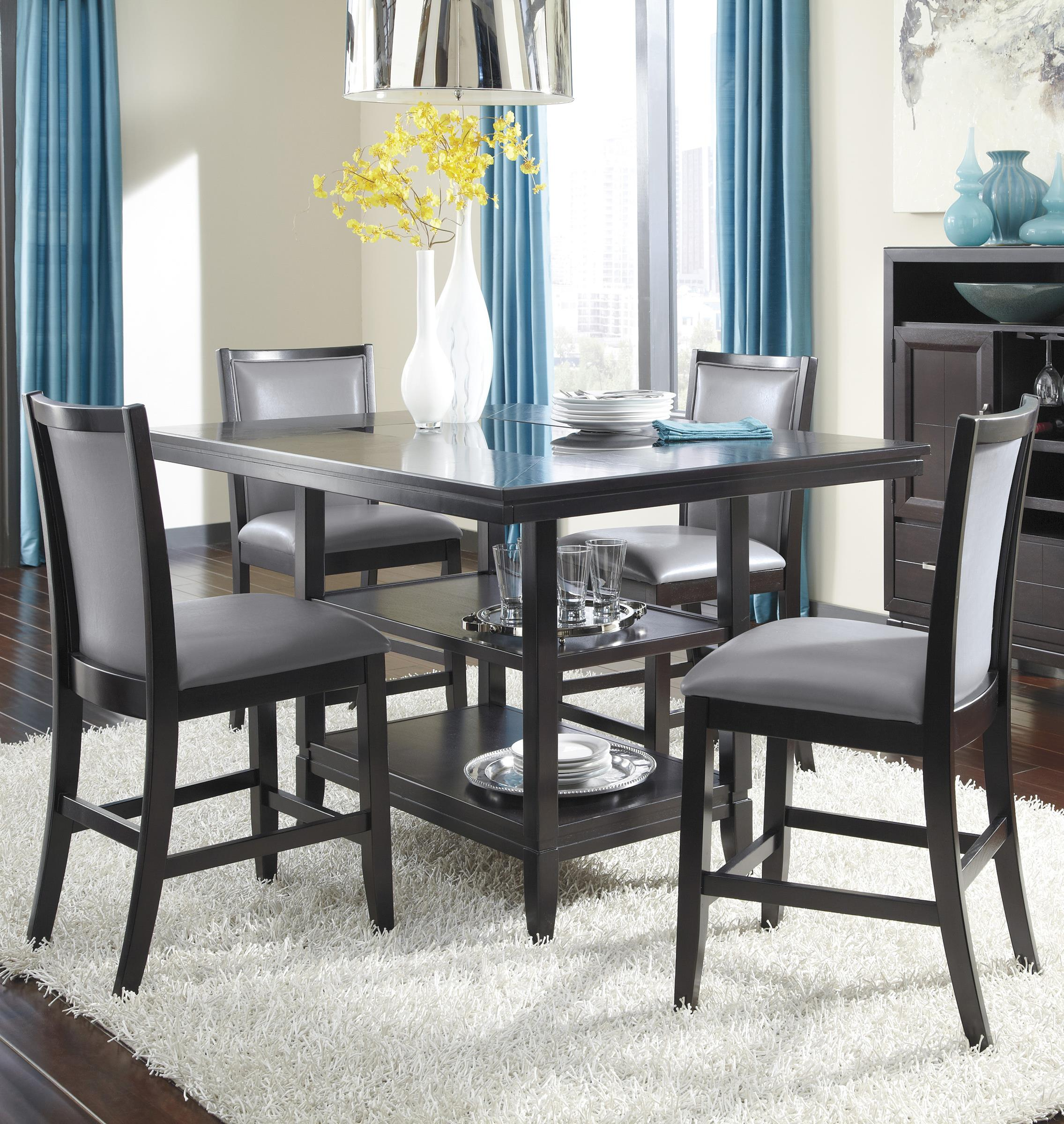 Ashley Furniture Trishelle 5-Piece Counter Table Set - Item Number: D550-32+4x524