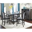 Ashley Furniture Trishelle 5-Piece Counter Table Set with Gray Upholstered Barstools
