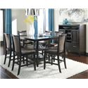 Ashley Furniture Trishelle 7-Piece Counter Table Set with Brown Upholstered Barstools