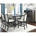 Ashley Furniture Trishelle 7-Piece Counter Table Set with Ivory Upholstered Barstools
