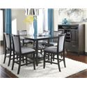 Ashley Furniture Trishelle 7-Piece Counter Table Set with Gray Upholstered Barstools