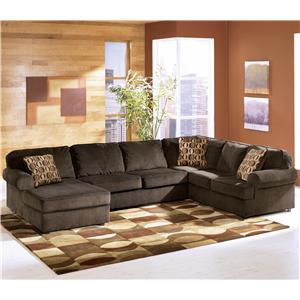 Ashley Furniture Vista - Chocolate 3-Piece Sectional with Left Chaise