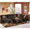 Ashley Furniture Vista - Chocolate Casual 3-Piece Sectional with Left Chaise - Shown with Ottoman