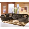 Ashley Furniture Vista - Chocolate 3-Piece Sectional with Right Chaise - Item Number: 6840466+34+17