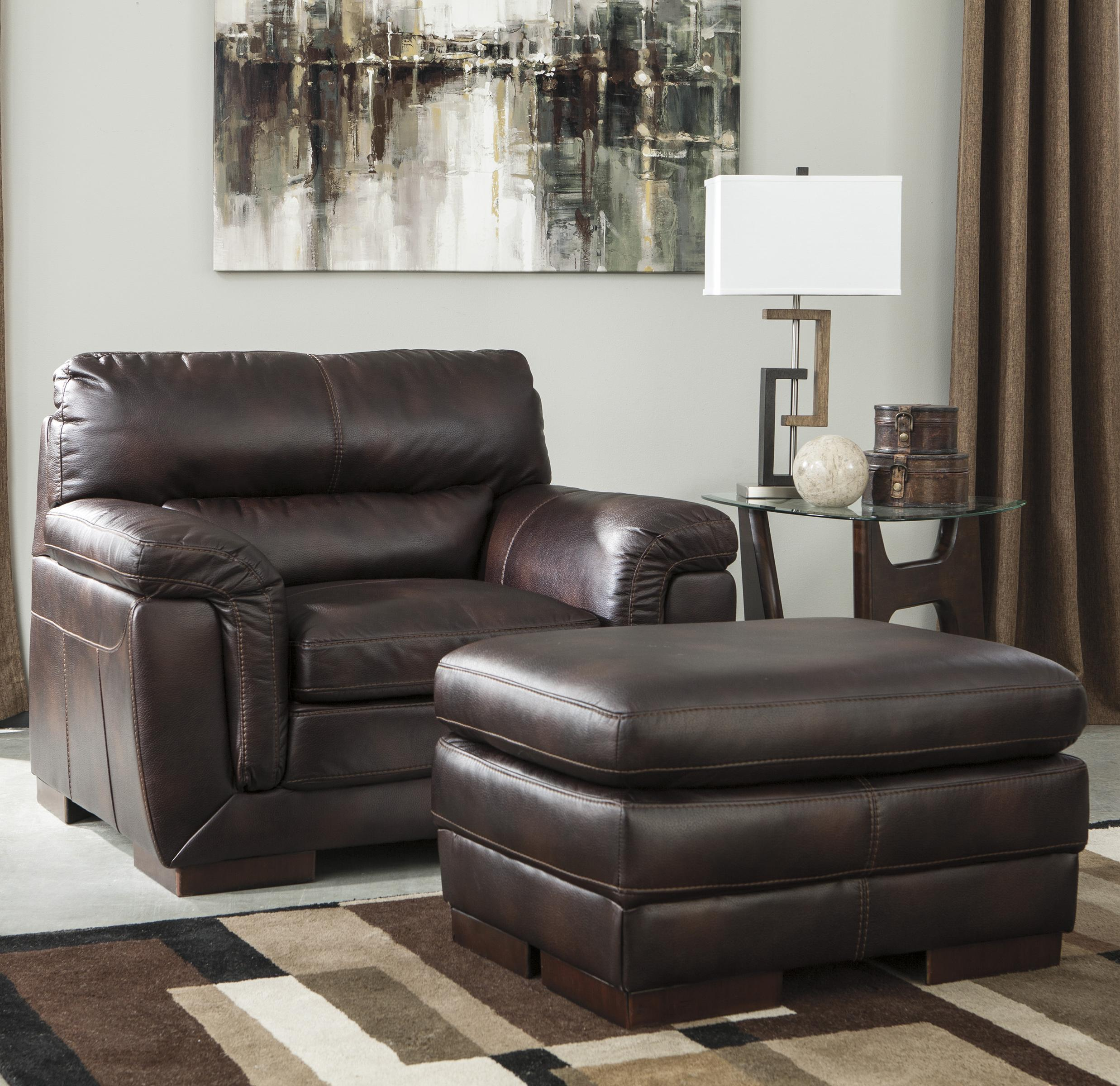 Zelladore   Canyon Contemporary Faux Leather Chair U0026 Ottoman By Ashley  Furniture