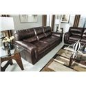 Ashley Furniture Zelladore - Canyon Contemporary Faux Leather Sofa - 2200238