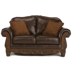 Millennium by Ashley North Shore - Dark Brown Traditional Leather Love Seat