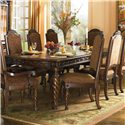 Millennium North Shore Upholstered Scroll Arm Chair - D553-02A - Dining Arm Chair shown with Rectangular Extension Table and Armless Side Dining Chairs.