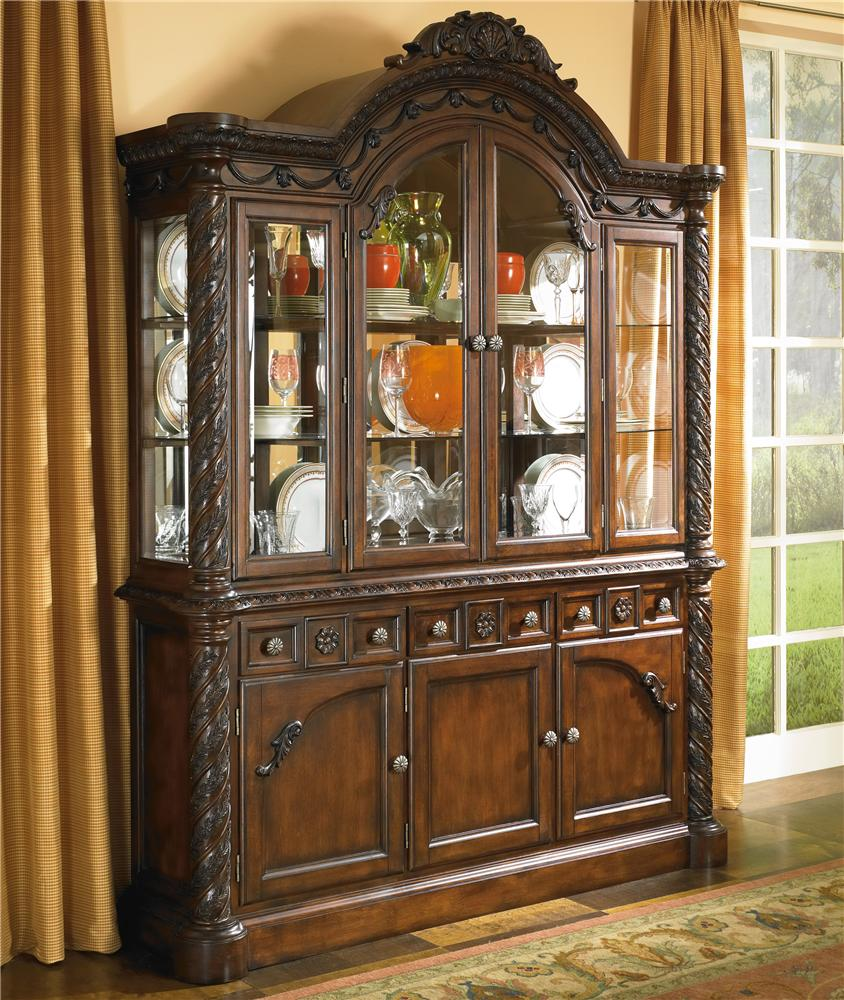 Old World China Cabinet With Glass Doors