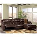Millennium Braxton - Java Sectional with Chaise with Padded Arms - 9780040+46+07