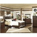 Millennium Hindell Park Low 7 Drawer Dresser - B695-31 - Shown with Poster Bed, Night Stand, Chest and Bedroom Mirror