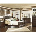 Millennium Hindell Park Queen Poster Bed w/ Bead Paneling - B695-50+71+96 - Shown with Night Stand, Chest, Dresser and Mirror