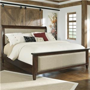 California King Upholstered Sleigh Bed