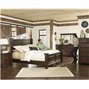 Millennium Hindell Park Three Drawer Night Stand w/ Pullout Tray - B695-93 - Shown with Poster Bed, Dresser and Bedroom Mirror