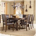 Millennium Holloway 7-Piece Extension Table Set w/ Faux Leather Side Chairs - D696-45+6x01