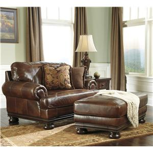 Ashley (Signature Design) Hutcherson Traditional Chair and a Half and Ottoman Set