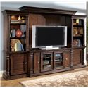 Millennium Key Town  Traditional Four Door TV Stand - W668-22 - Shown with Side Piers, Back Panel, and Bridge as Completed Wall Unit