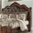 Millennium Ledelle Queen Sleigh Headboard with Tufted Brown Faux Leather Upholstery - King/Cal King Size Shown
