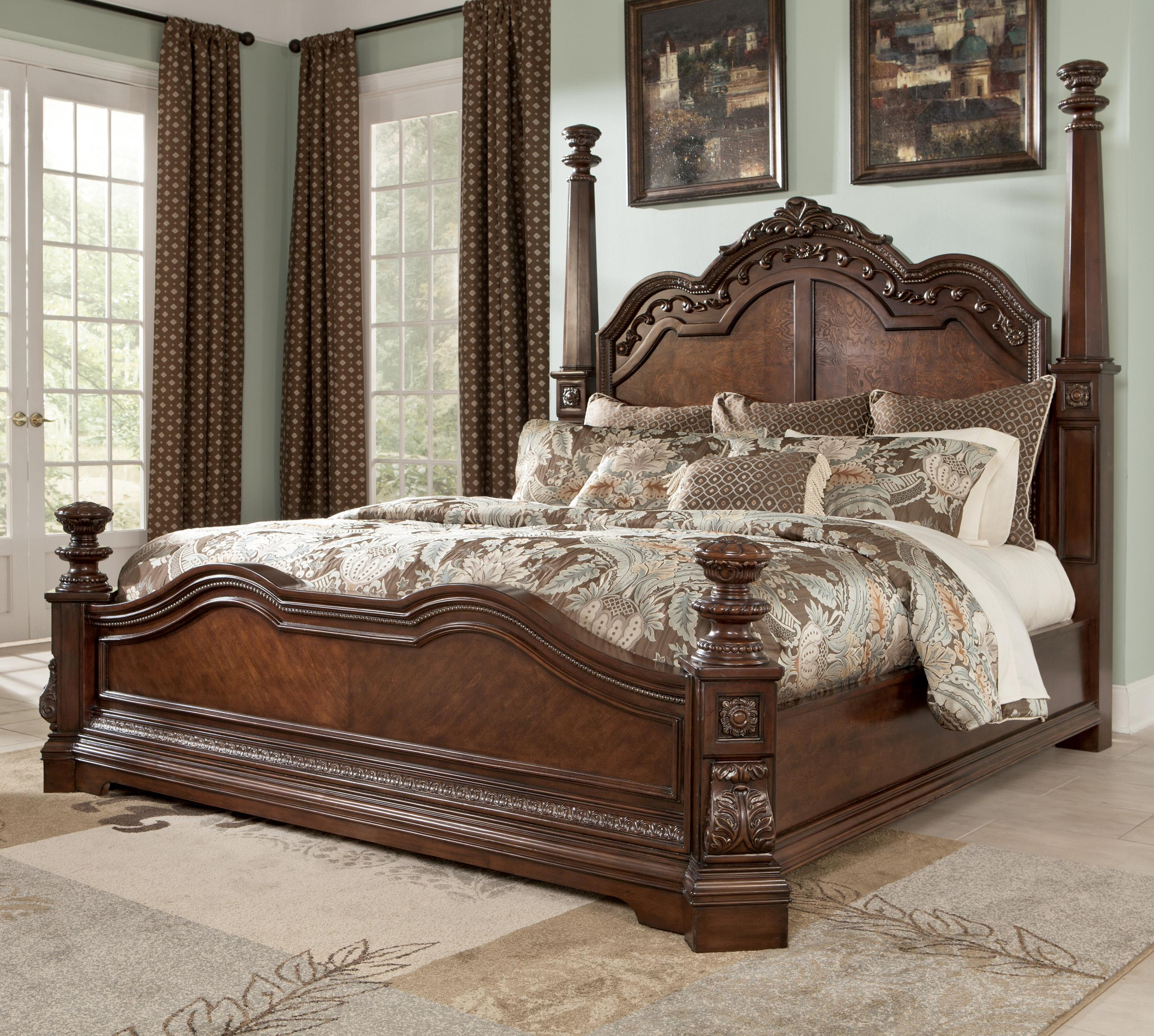 Millennium Ledelle Traditional King Poster Bed with Tall Headboard Posts -  AHFA - Poster Bed Dealer Locator