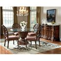 Millennium Ledelle Traditional Dining Upholstered Side Chair with Pierced Back - Side Chairs Shown with Round Table and Server