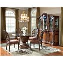 Millennium Ledelle Traditional Dining Upholstered Side Chair with Pierced Back - D705-03 - Side Chairs Shown with Round Table and Buffet/China Hutch