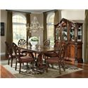 Millennium Ledelle Traditional Dining Upholstered Side Chair with Pierced Back - Side Chairs Shown with Rectangular Table and Buffet/China Hutch