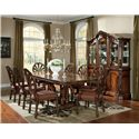 Millennium Ledelle Traditional Dining Upholstered Arm Chair with Pierced Back - Arm Chairs Shown with Side Chairs, Rectangular Table, and Buffet/China Hutch