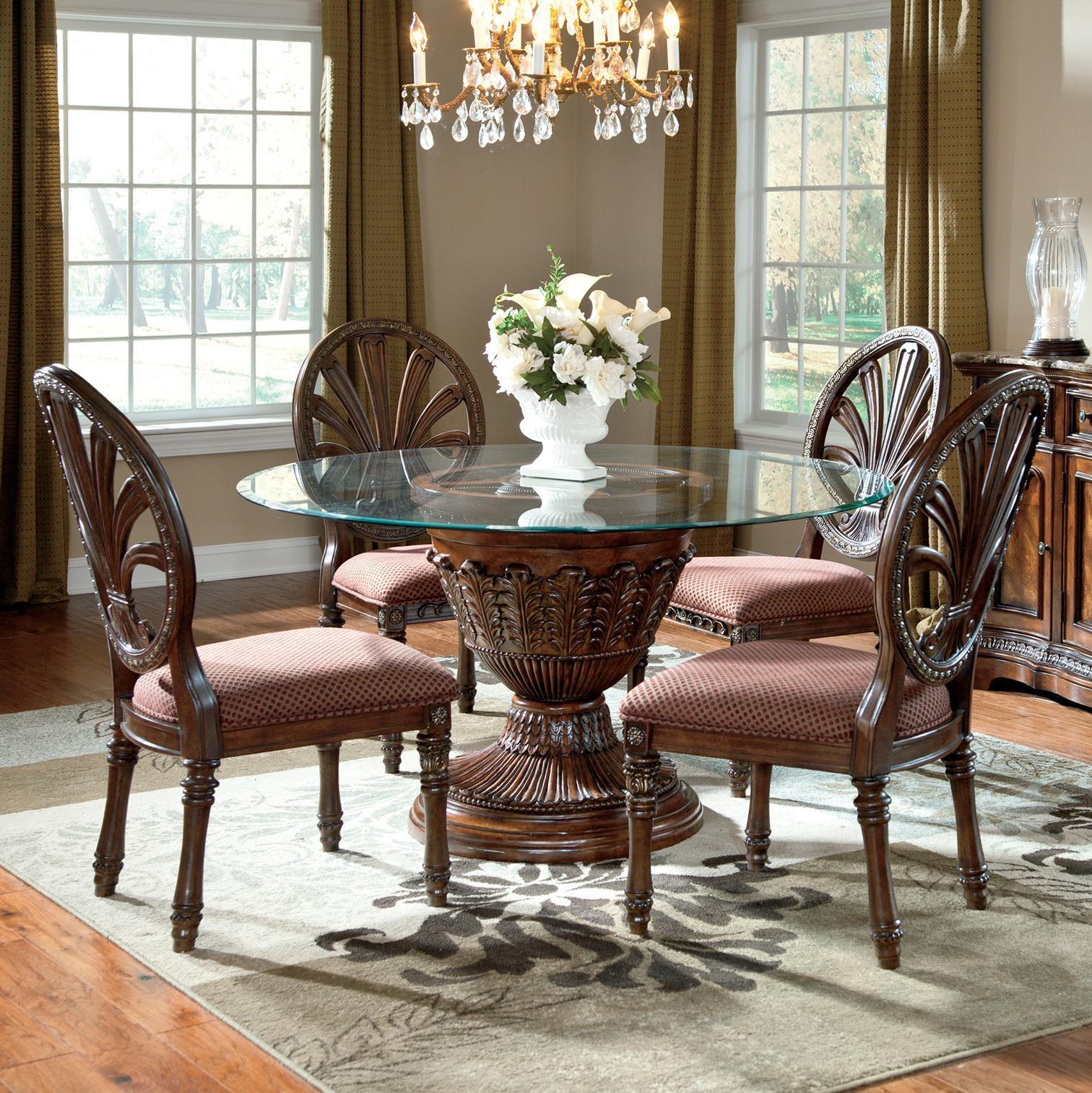 Millennium Ledelle 5-Piece Glass Top Table Set - Item Number: D705-50B+D100-50T+4x03