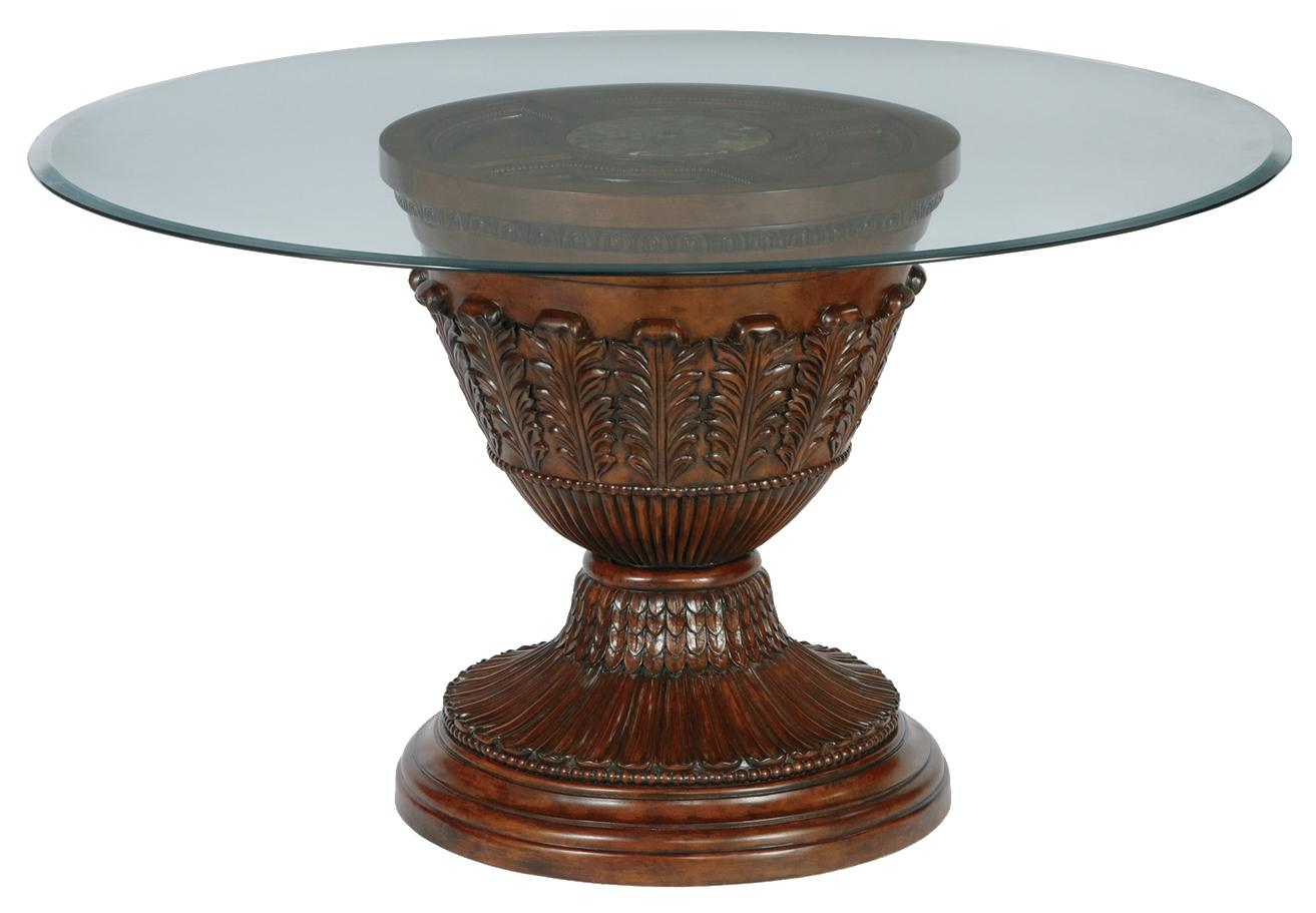 Millennium Ledelle  Glass Top Round Dining Room Table AHFA - Glass top round dining table