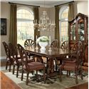 Millennium Ledelle 9-Piece Rectangular Table Set with Pierced Back Chairs - D705-55B+T+2x03A+6x03
