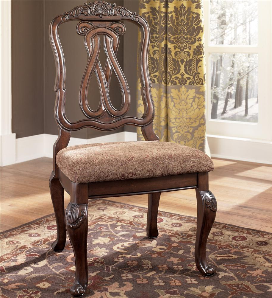 Millennium North Shore D553 03 Carved Back Side Chair Dunk Bright Furniture Dining Side Chairs