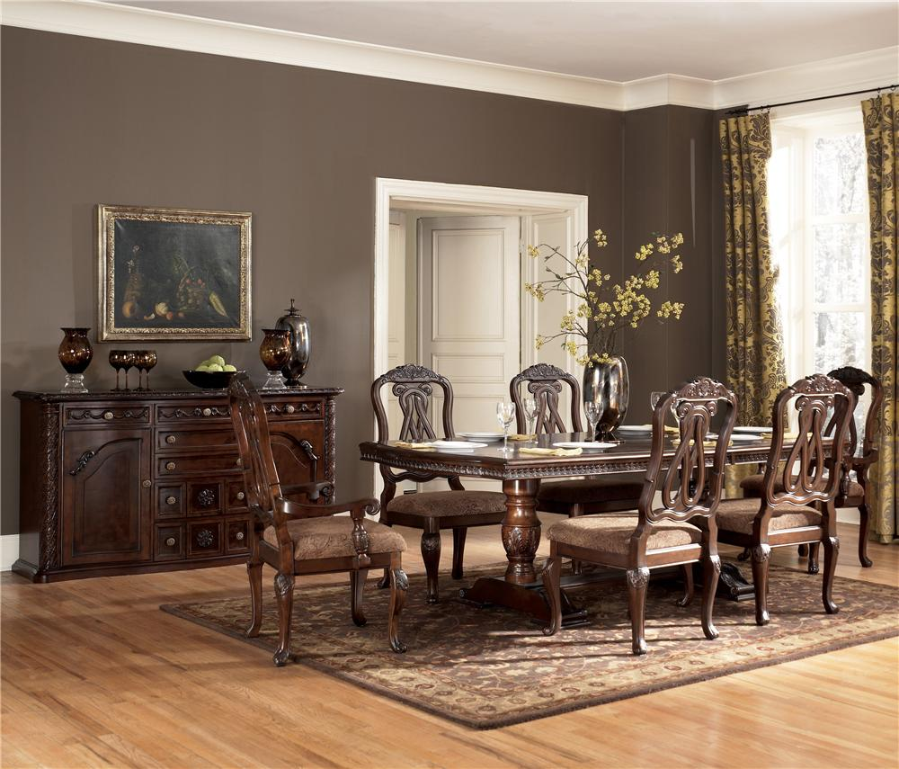 Millennium North Shore 7 Piece Double Pedestal Dining Table Side Chair Set Wayside Furniture