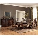 Millennium North Shore Double Pedestal Extension Dining Table - D553-55B+T - Shown with 6 Side Chairs & Buffet