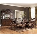 Millennium North Shore Double Pedestal Extension Dining Table - D553-55B+T - Shown with China, Arm & Side Chairs