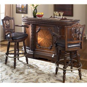 "Sig Millennium by Ashley Furniture North Shore Bar with Marble Top & Two 30"" Swivel Stools"