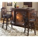 "Millennium North Shore Bar with Marble Top & Two 30"" Swivel Stools - Item Number: D553-65+2x130"