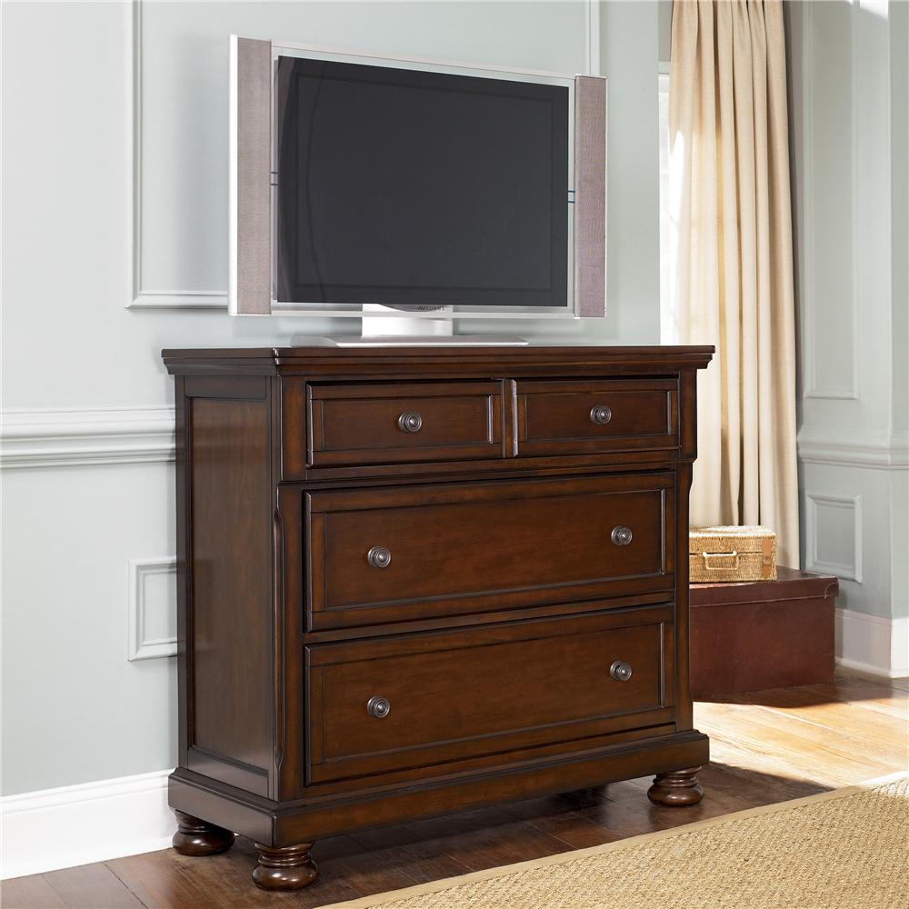 Ashley Furniture Porter Media Chest with Drop Drawer | Wayside ...