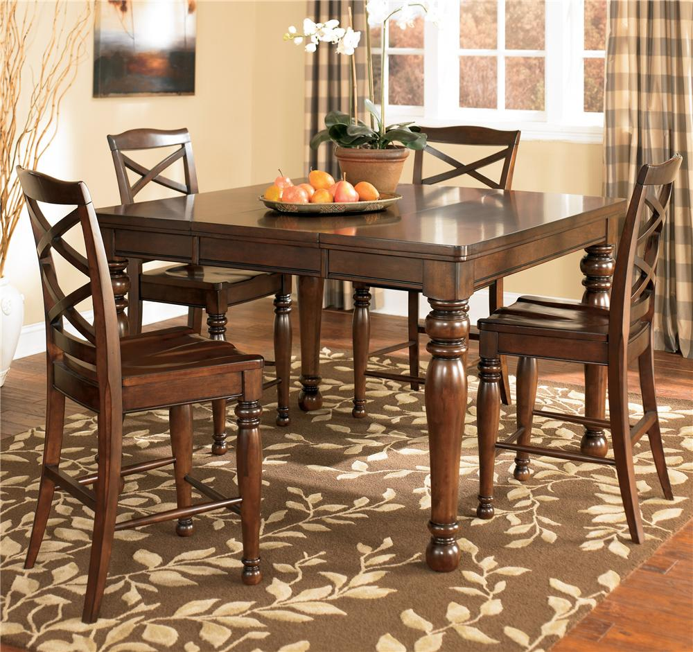 Ashley Furniture Porter House 5 Piece Pub Table & Stool Set - Item Number: D687-32+4X124