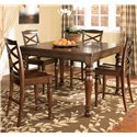 Ashley Furniture Porter House Counter Height Extension Table - Shown with 4 Bar Stools
