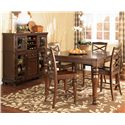 Ashley Furniture Porter House Counter Height Extension Table - Shown with 4 Bar Stools & Server