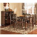 Ashley Furniture Porter House Counter Height Extension Table - Shown with 6 Bar Stools