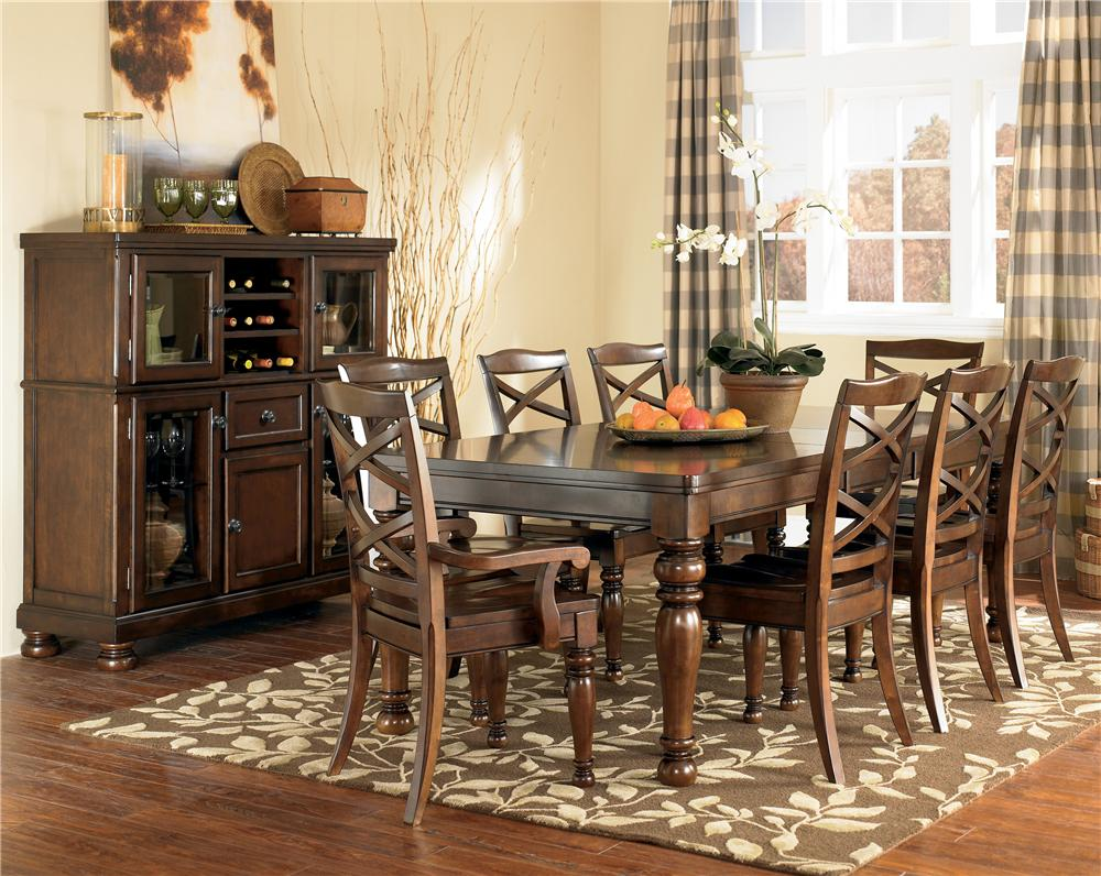 Ashley Furniture Porter 9 Piece Table & Chair Set - Item Number: D697-35+2X01A+6X01