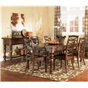Ashley Furniture Porter 7 Piece Rectangular Extension Table & Chair Set - Shown with 5 Leg Server