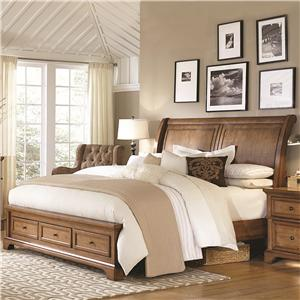 Morris Home Furnishings Walnut Creek Queen Sleigh Storage Bed