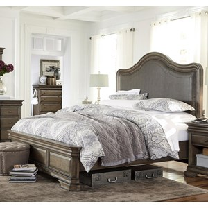 Morris Home Furnishings Arcadia California King Upholstered Low Profile Bed